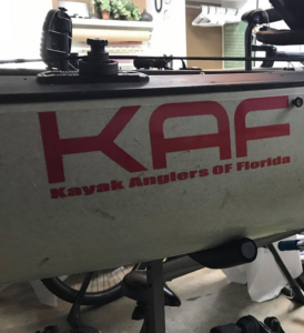 KAF logo red on kayak